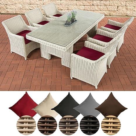 CLP Salon de Jardin en Résine Tressée Fibres Ronde Sandnes I 6 Places  Assise + 1 Table I Ensemble de Jardin en Poly Rotin Coussins Inclus Rotin:  Blanc ...