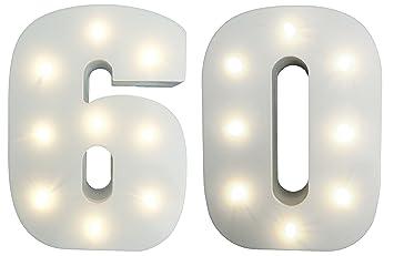 Beleuchtete Deko Ziffern 60 Zum 60 Geburtstag Zur Diamantenen