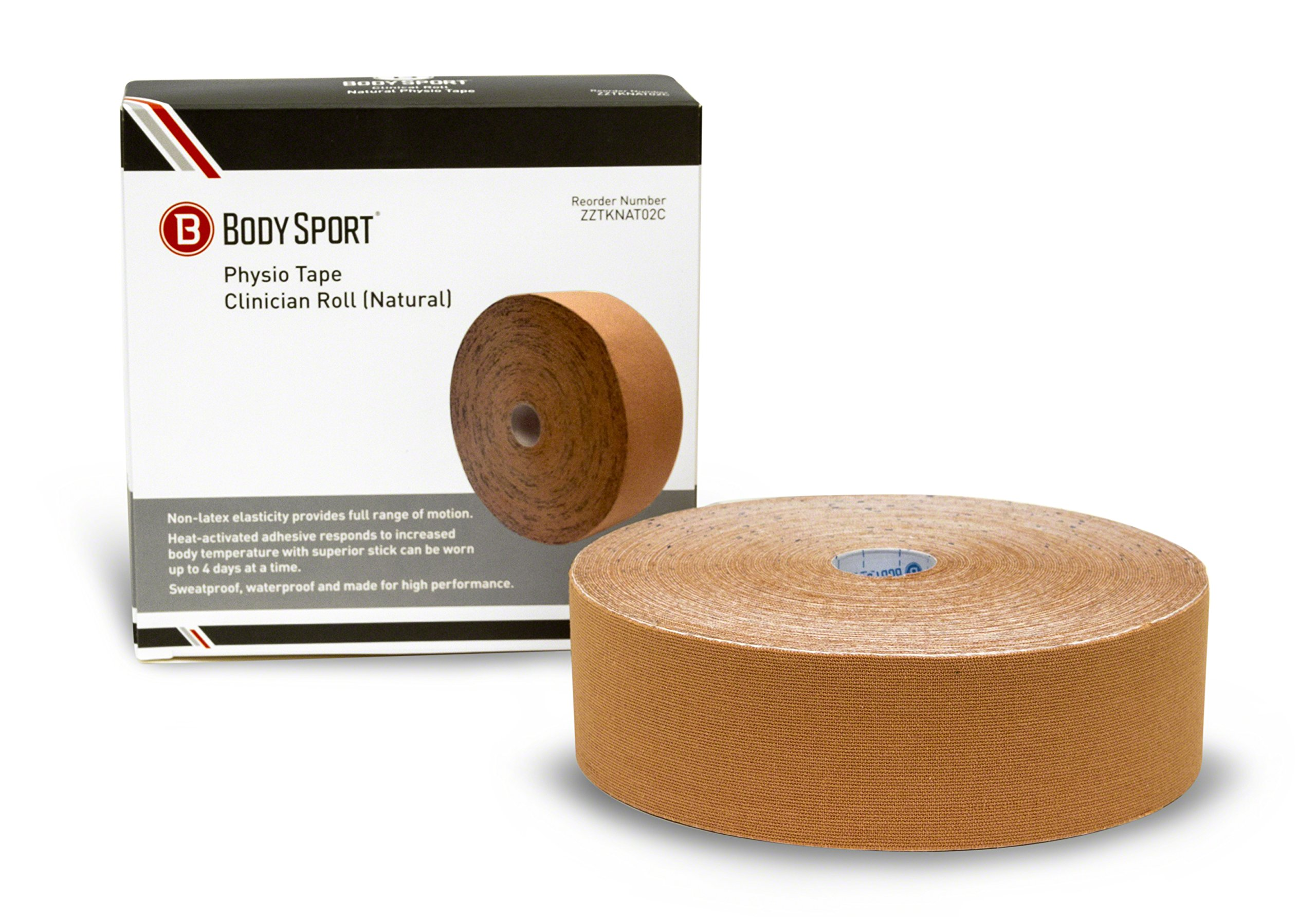 Body Sport Physio Tape, Kinesiology Tape to Support Muscles and Joints, Prevent Injury - Natural - 2 in x 33.5 yds