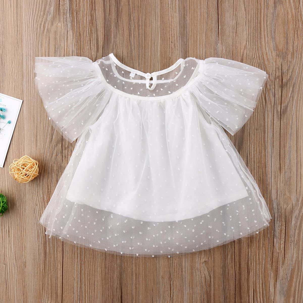 Lahyra Baby Girl Lace Tutu Top Ruffle Sleeve Shirt Blouse Fashion Summer Sunsuit Clothes