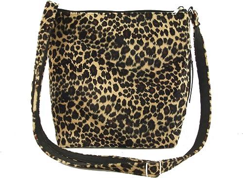Brown Leopard Print Cross Body Zip Bag Messenger Ladies Bag Handbag