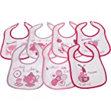 Baby Patterned 7 Days Of The Week Bibs in Boys & Girls Options (Pack of 7) (0-6 Months) (Pink)