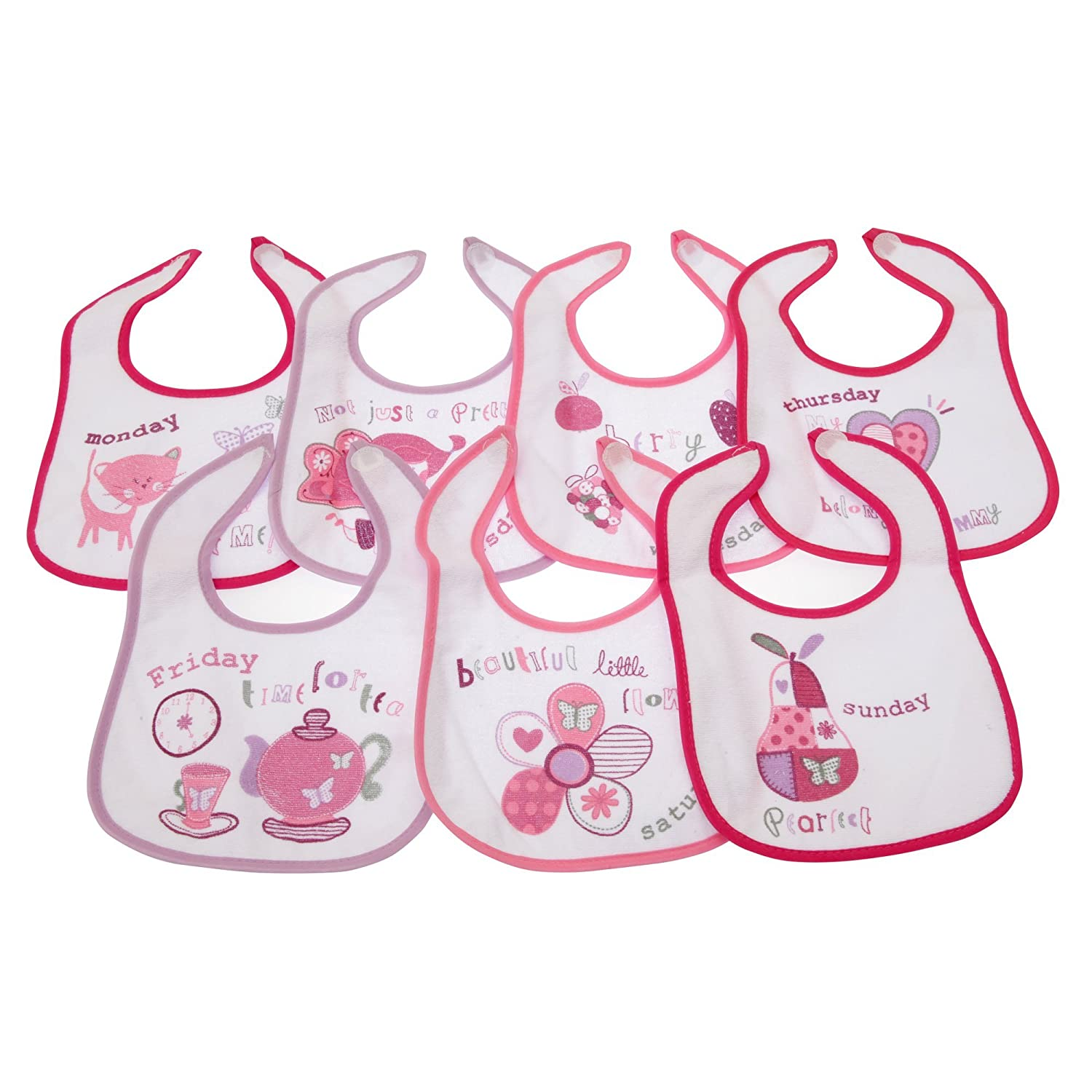 Baby Patterned 7 Days Of The Week Bibs in Boys & Girls Options (Pack of 7) (0-6 Months) (Pink) Nursery Time UTBABY806_1