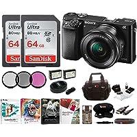 Sony Alpha a6000 Mirrorless Camera w/16-50mm Lens & Two 64GB SD Card Bundle