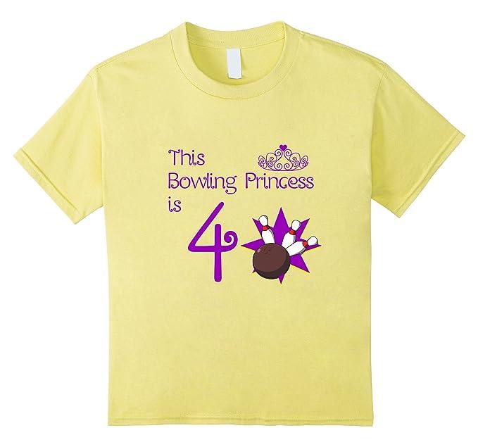 Kids 4 Year Old Bowling Birthday Party 4th Girls T Shirt Lemon