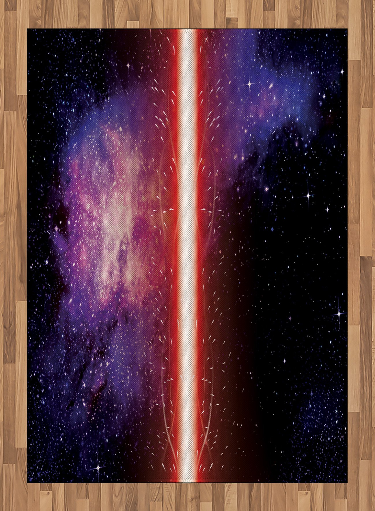 Galaxy Area Rug by Ambesonne, Famous Movie Weapon Fantastic Galaxy War between Enemies Theme Sword with Red, Flat Woven Accent Rug for Living Room Bedroom Dining Room, 5.2 x 7.5 FT, Black