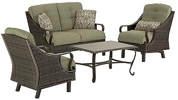 Amazoncom Hanover VENTURAPC Ventura Piece IndoorOutdoor - Indoor outdoor furniture