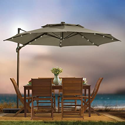 Captivating Destination Summer 11 Foot Round Solar LED Adjustable Cantilever Outdoor Patio  Umbrella With Base And