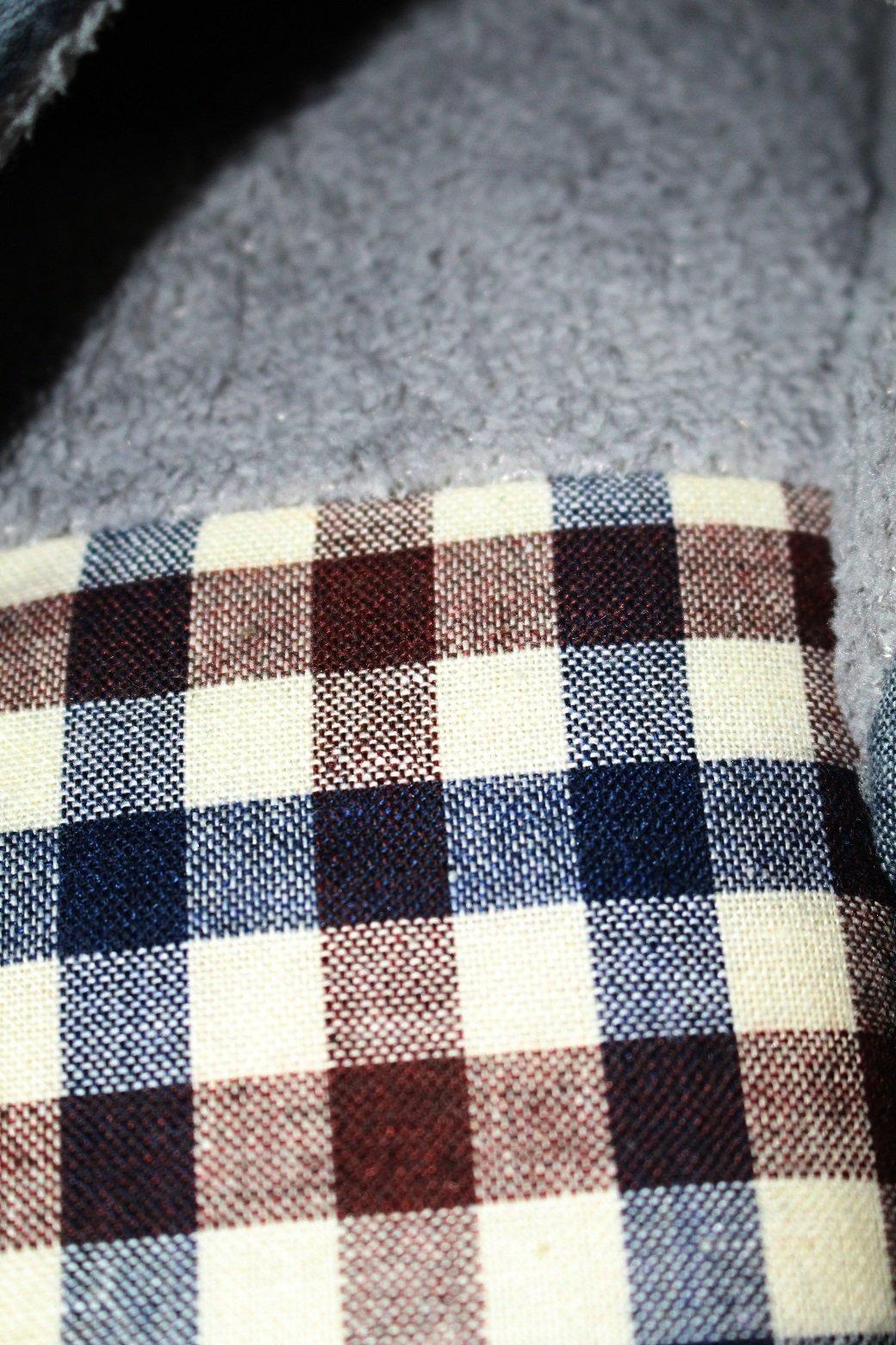 EURO SKY Stylish Cotton Grids Scalloped Clog Antiskid House Slippers Navy -Size: US 11/EU (44/45) by EURO SKY (Image #3)