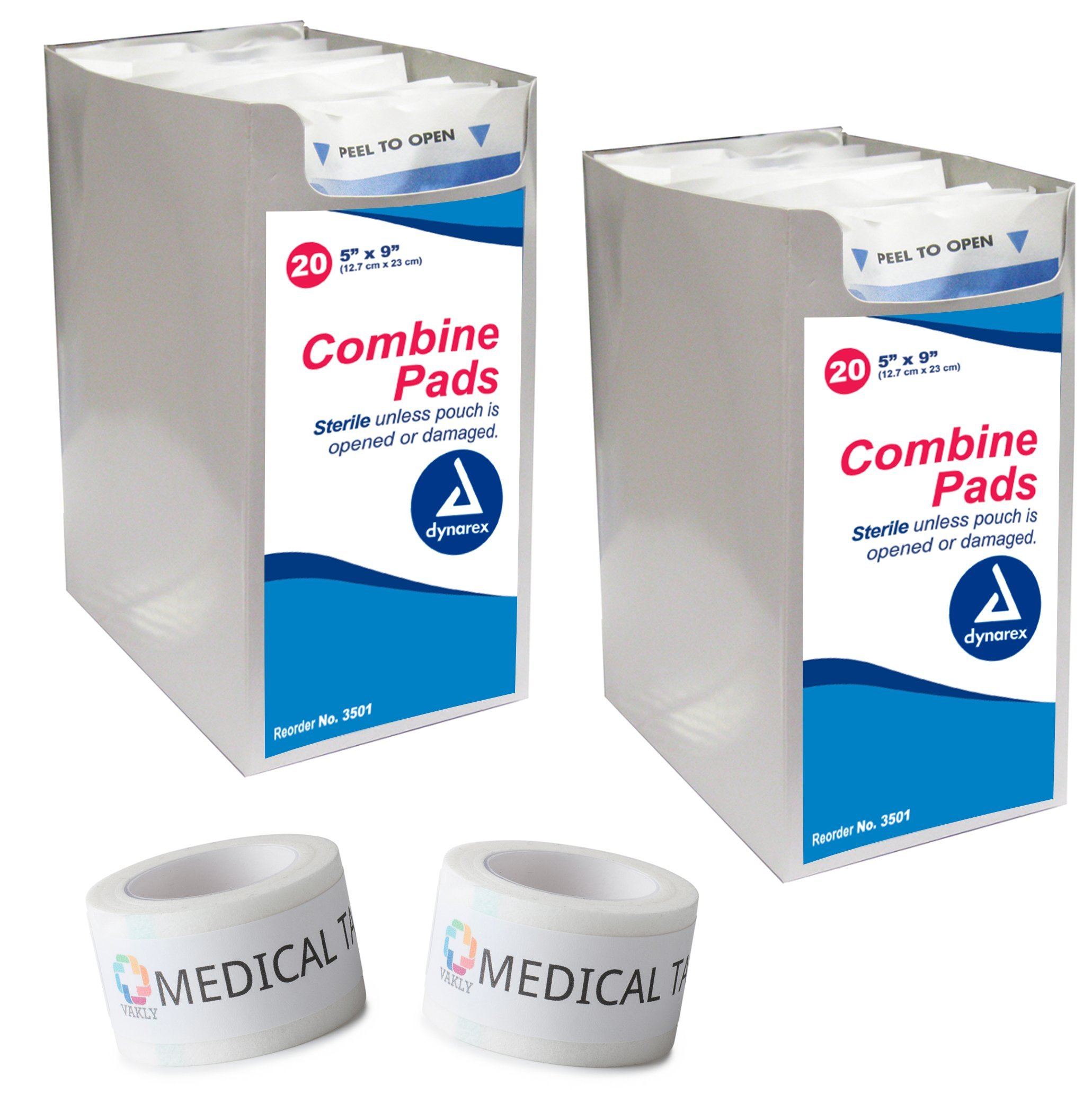 Sterile 5x9 Combine Abdominal Pads 2 Packs Of 20 + 2 Rolls Of Vakly Medical Tape (40 Pads + 2 Rolls) …