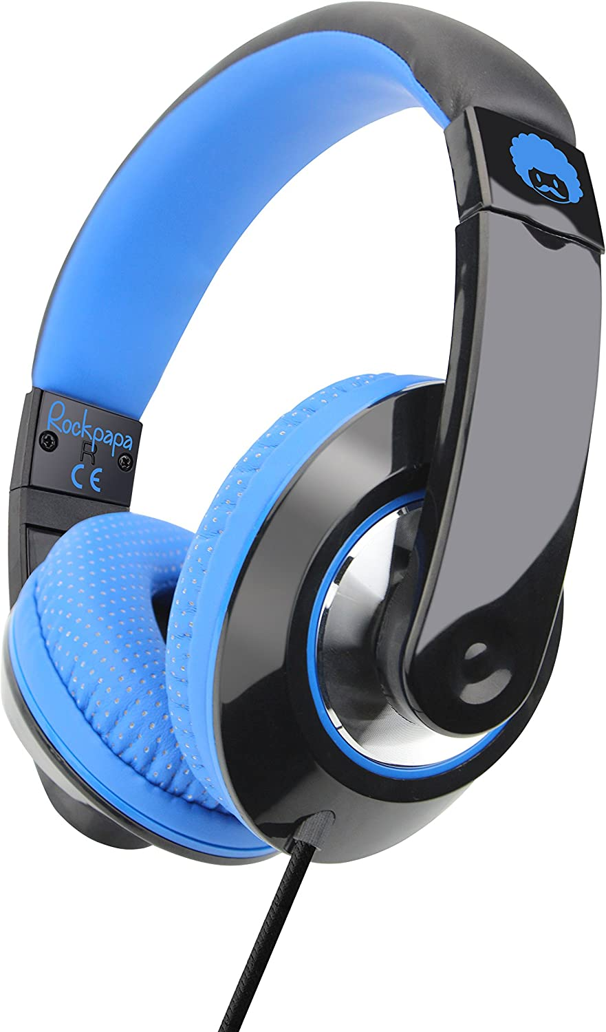 Rockpapa Comfort+ Adjustable Over Ear Headphones Earphones with Microphone in-line Volume for Adults Kids Childs Teens, Smartphones Laptops DVD MP3/4 Surface iPhone iPod iPad MacBook Black Blue