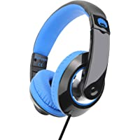 Rockpapa Comfort+ Over Ear Headphones Earphones with Microphone & Volume Control for Kids Childs Adults, Mobile Laptops Tablets Surface iPhone iPad MacBook in Car/Airplant Black Blue