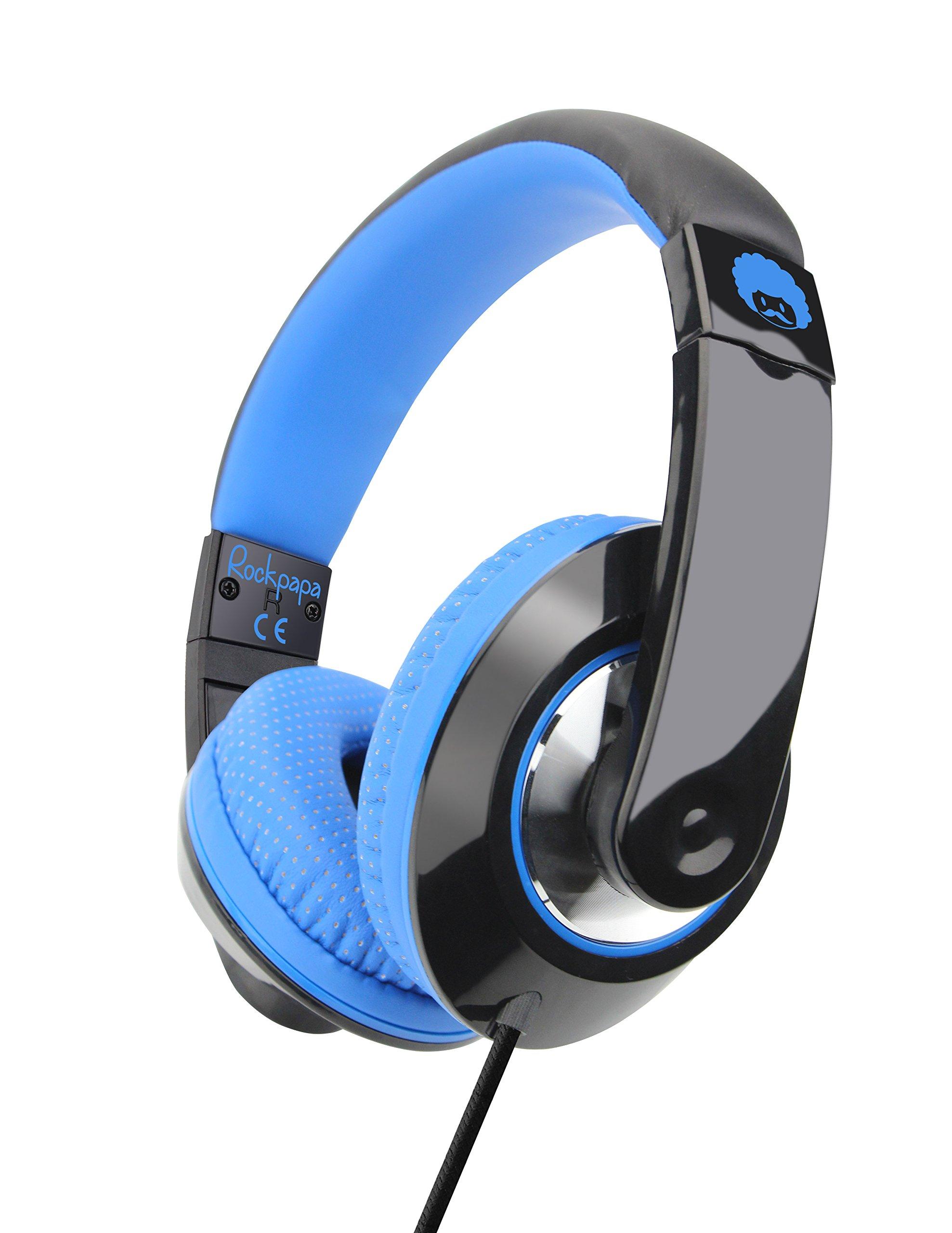 RockPapa 790 Adjustable Over Ear Headphones Earphones with Microphone in-line Volume for Adults Kids Childs, Smartphones Laptops DVD MP3/4 Surface iPhone iPod iPad MacBook Black Blue