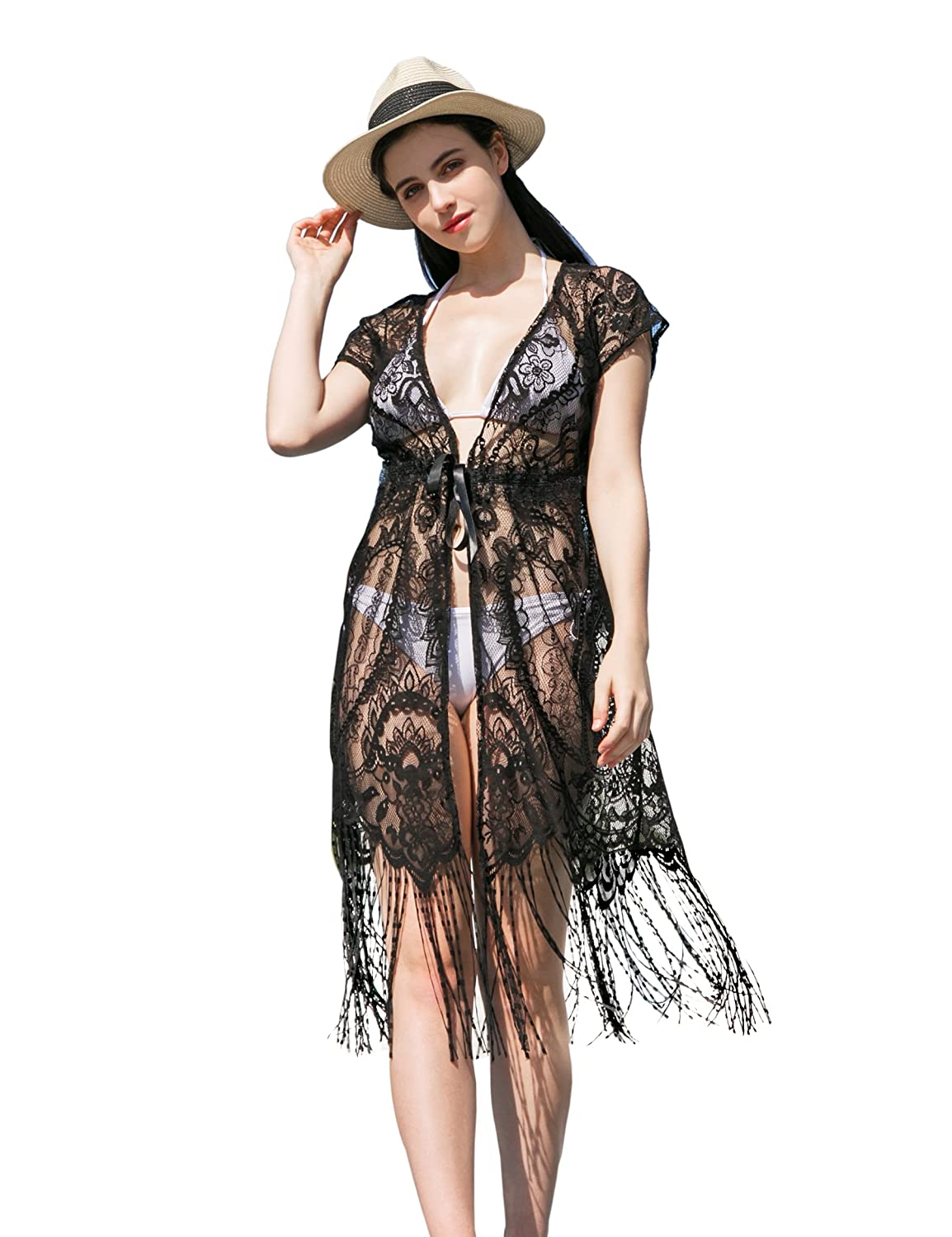 d5408675ad Women s Lace Floral Cover Up - Summer Sexy Long Maxi Beach Wear Bathing  Suit Swimsuit for Bikini Soul Young(One Size