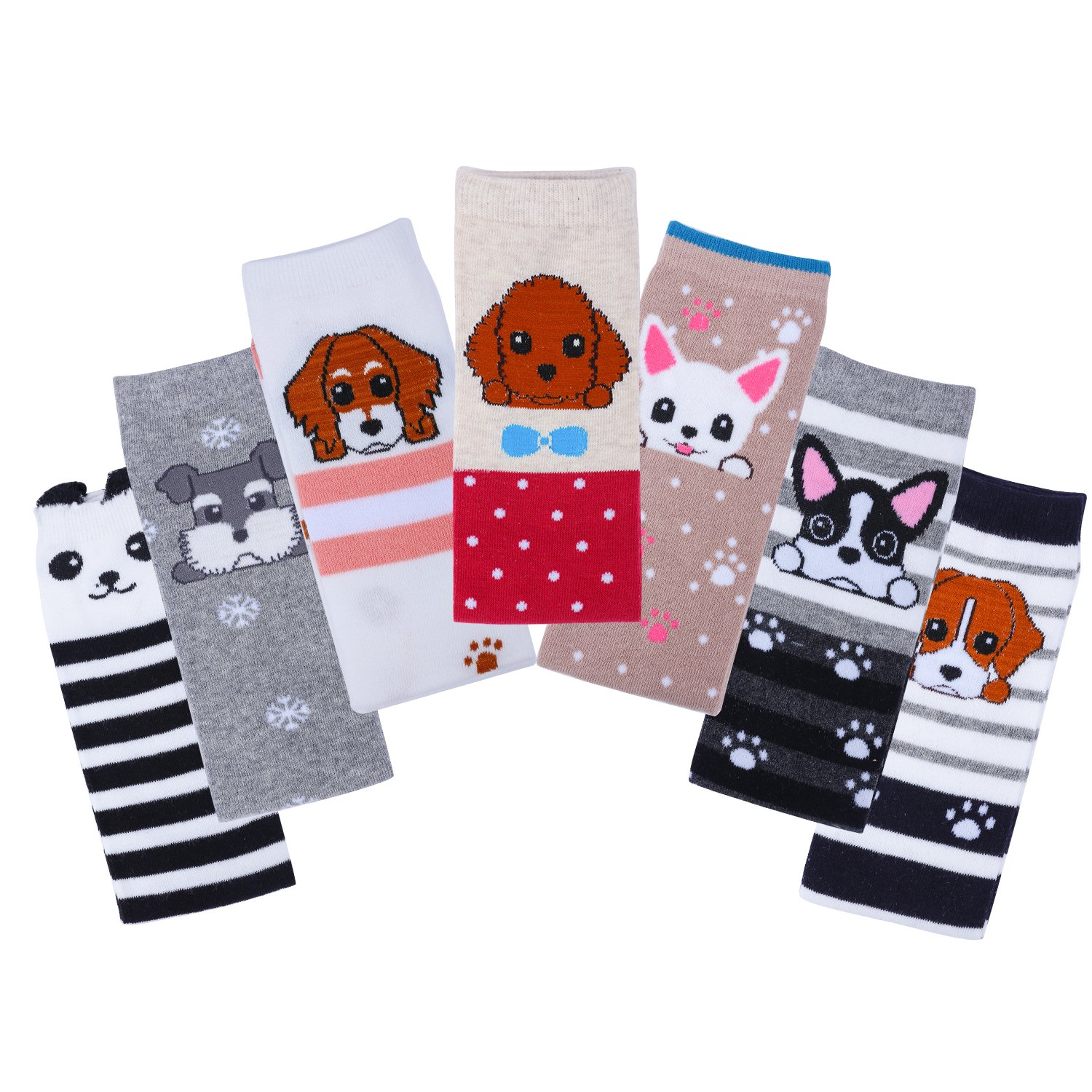 7 Pack Cute Animal Pattern Design Thermal Knee High Socks Compression Stockings for Baby Girls Christmas