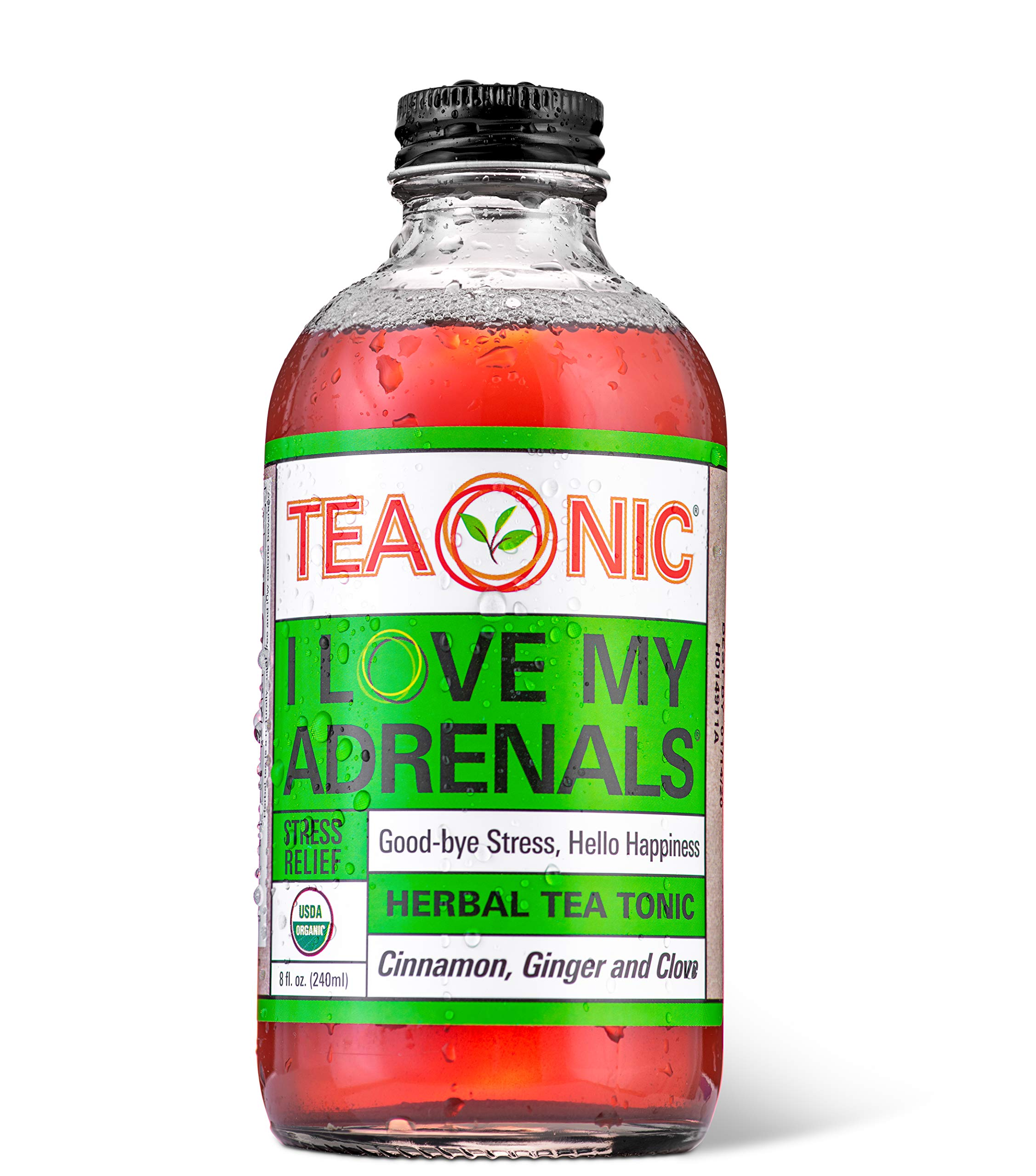 Teaonic I Love My Adrenals, Stress Relief, Calming and Relaxing, Organic, Natural, Caffeine-Free, Handcrafted Brewed Herbal Unsweetened Tea, Adaptogens, Cinnamon, Ginger, Clove, 8oz (Pack of 12) by TEAONIC