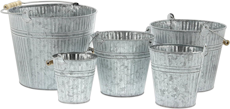 Set of 5 Assorted Sullivans Galvanized Metal Bucket Pails