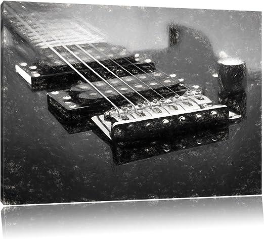 Negro guitarra eléctrica (carbón dibujo efecto sobre lienzo, XXL ...