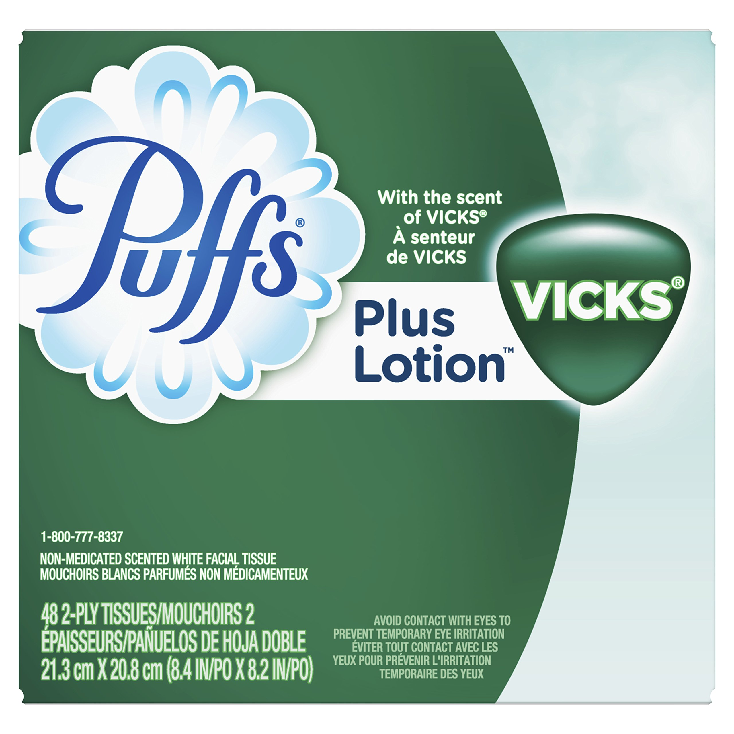 Puffs Plus Lotion With The Scent of Vicks Facial Tissues; 6 cube Boxes included, 48 Tissues per Box