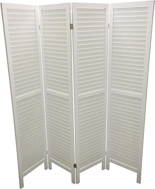 Eazygoods 4 Panel Wooden Slat Room Divider Wood White 160 X 5 X 170 Cm Amazon Co Uk Kitchen Home