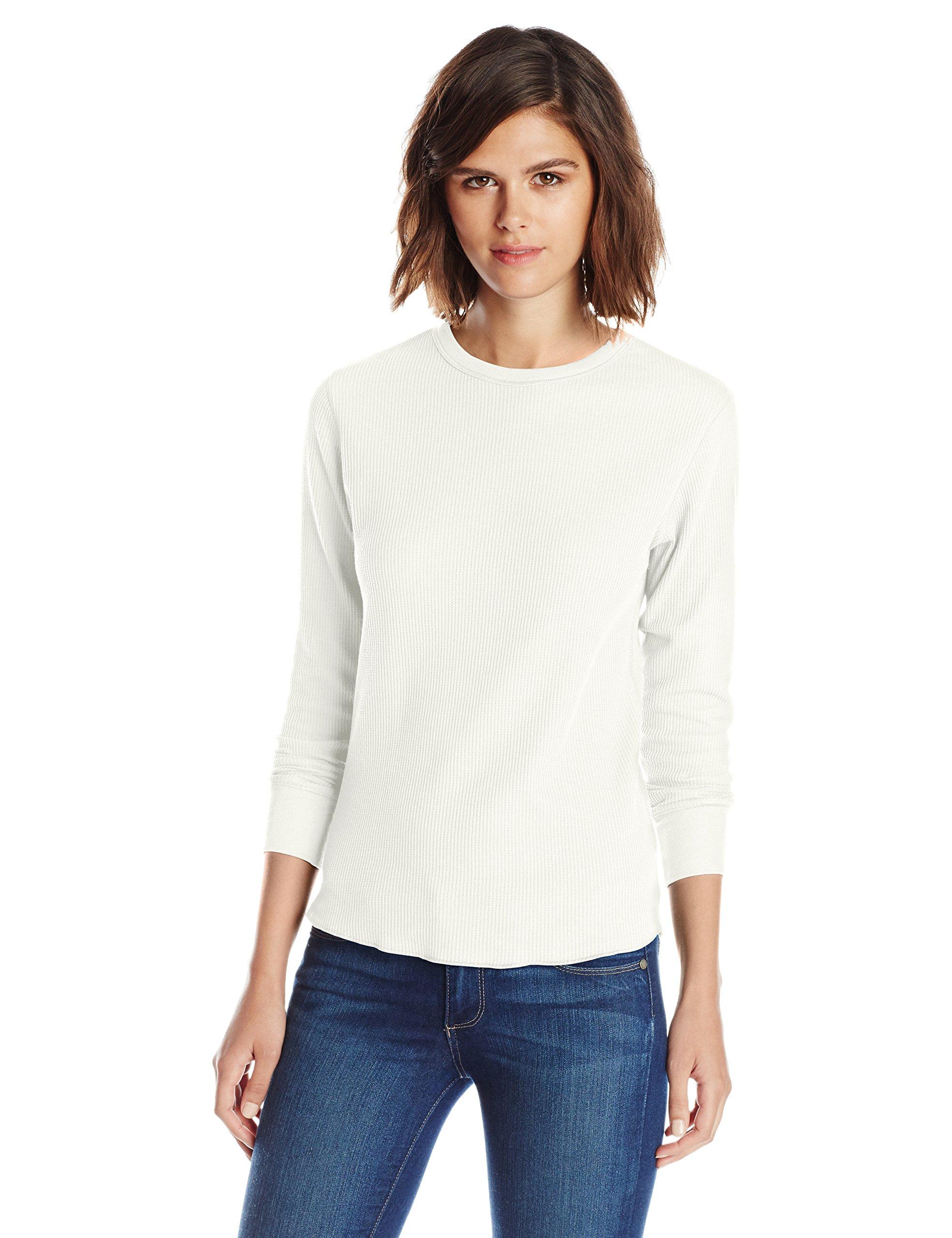 Hanes Women's Plus-Size X-Temp Thermal Crew Shirt, Snow White, Large
