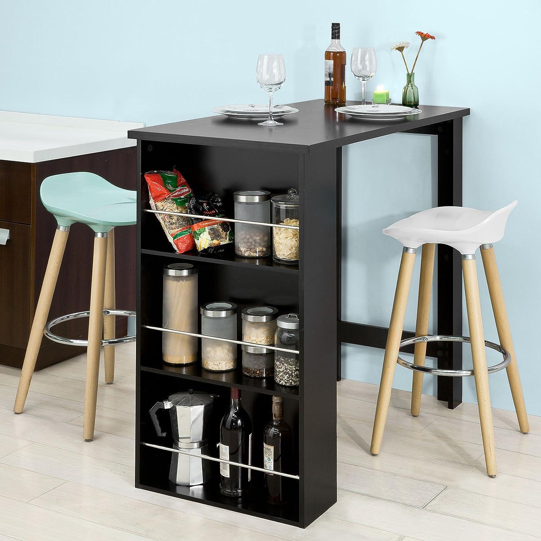 Noir Dimensions Sobuy Fwt17 Sch Table De Bar Mange Debout Table Haute De Cuisine Avec 3 Etageres De Rangement 112 X 106 X 57 Cm Orc Com Pe
