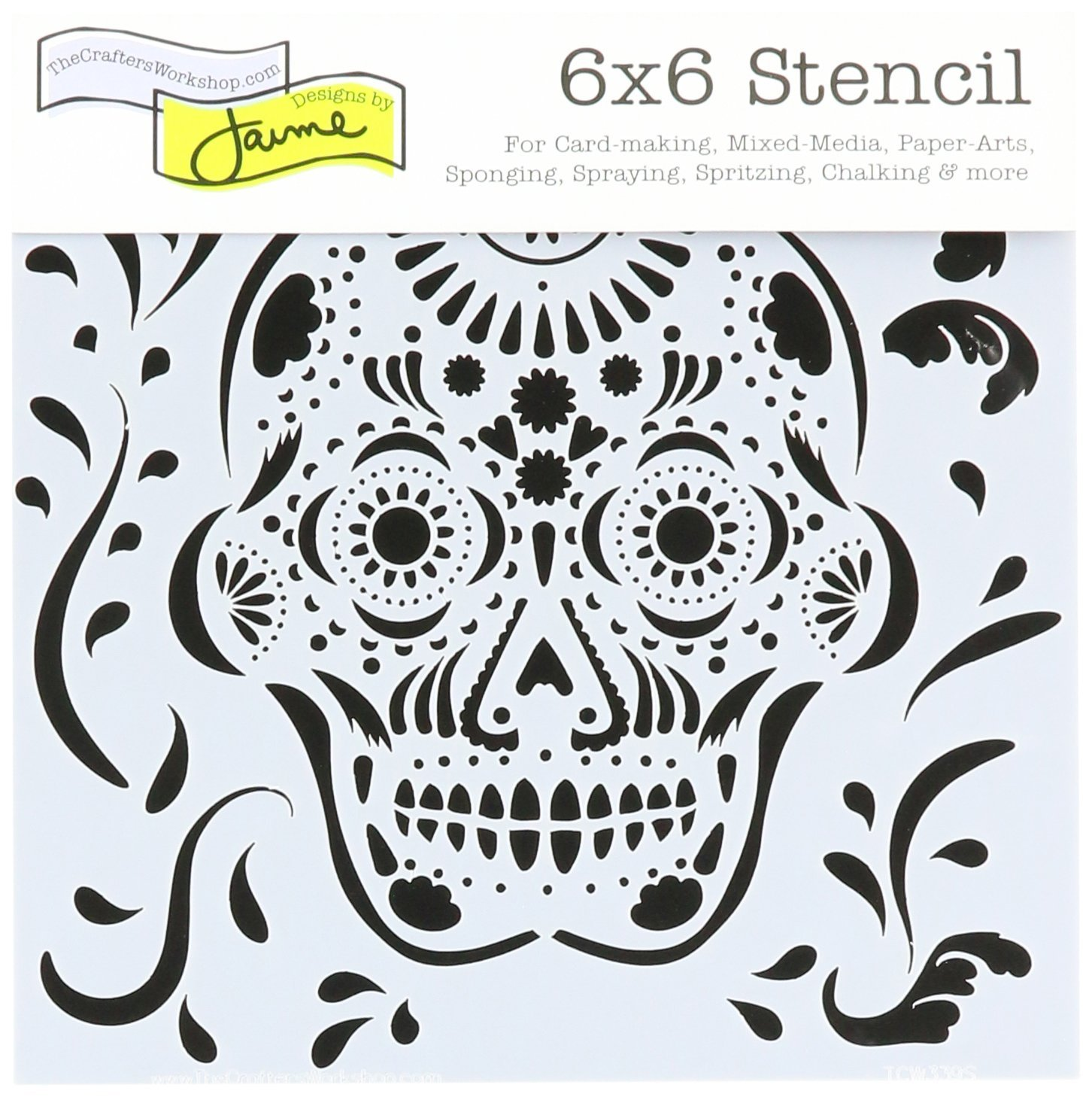 CRAFTERS WORKSHOP The TCW339S Stencil 6x6 Mexican Skull Stencil 6x6 Mexican SKL Notions - In Network