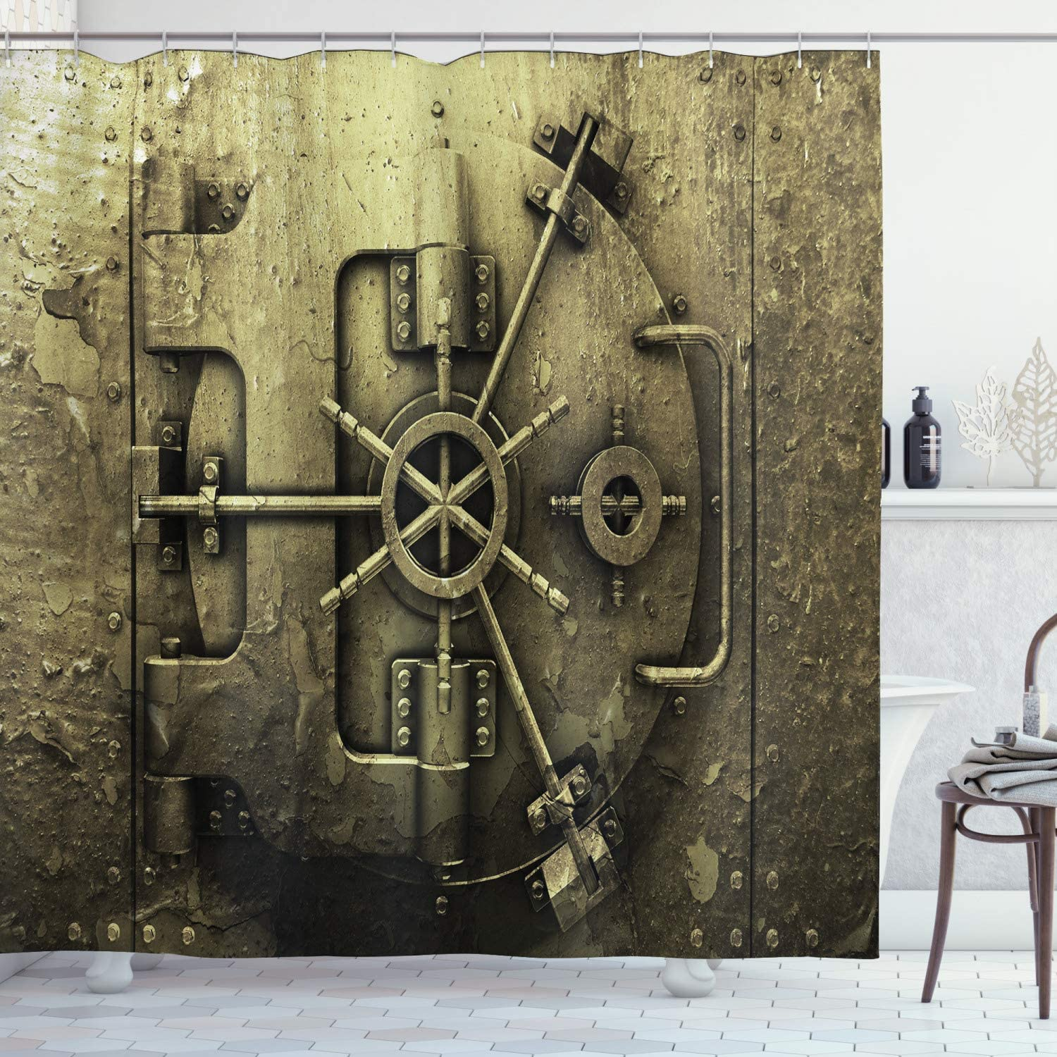Ambesonne Rustic Shower Curtain, Grunge Style Bank Vault Illustration Safe Secure Precious Treasure and Protection Closeup Shot Print, Cloth Fabric Bathroom Decor Set with Hooks, 70