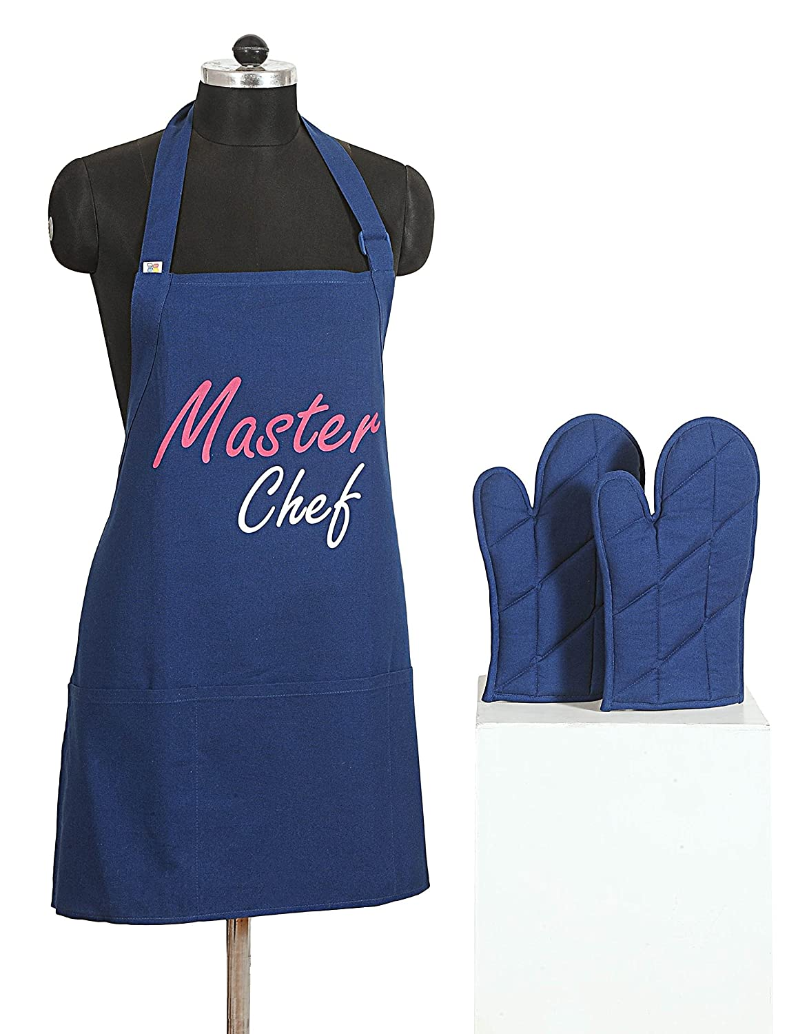 Graphic Screen Print Apron & Oven Mitt Set - 100% Cotton - Kitchen Gifts for Women OR Kitchen Gifts for Men