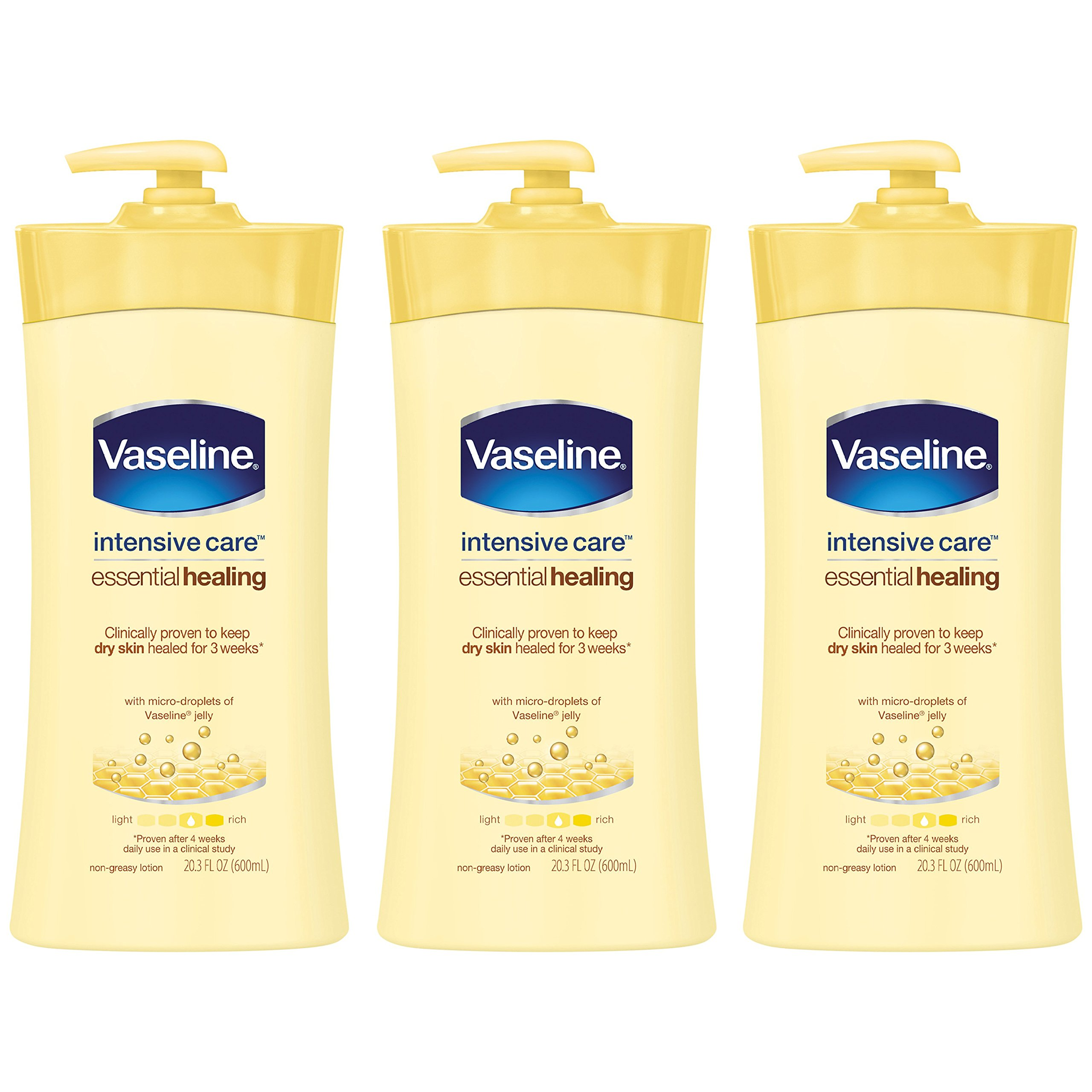 Vaseline Intensive Care Body Lotion, Essential Healing, 20.3 oz, 3 ct