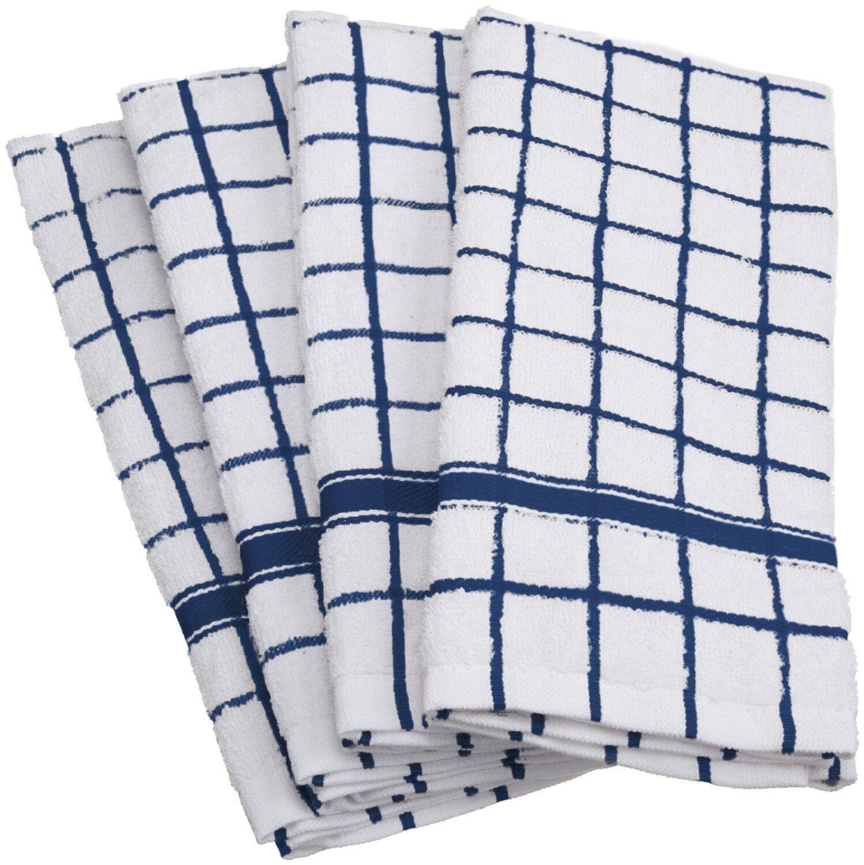 "CC Home Furnishings Set of 4 Navy Blue and White Windowpane Checkered Terry Dishtowels 15'' x 26"""