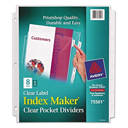 Amazon Avery Index Maker Clear Pocket Clear Label Dividers 8