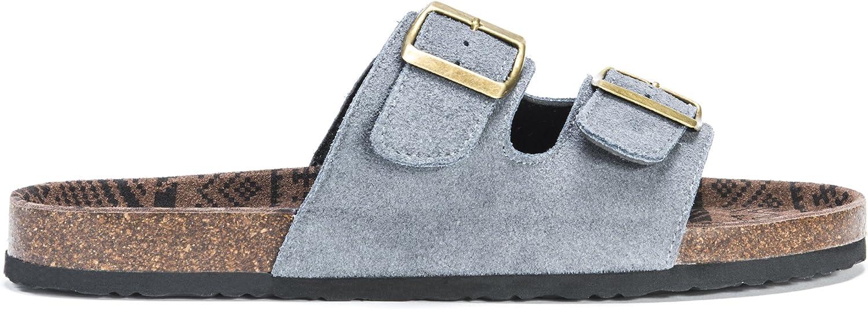 MUK LUKS Mens Parker Duo Starpped Sandal-Grey Slide 13 M US