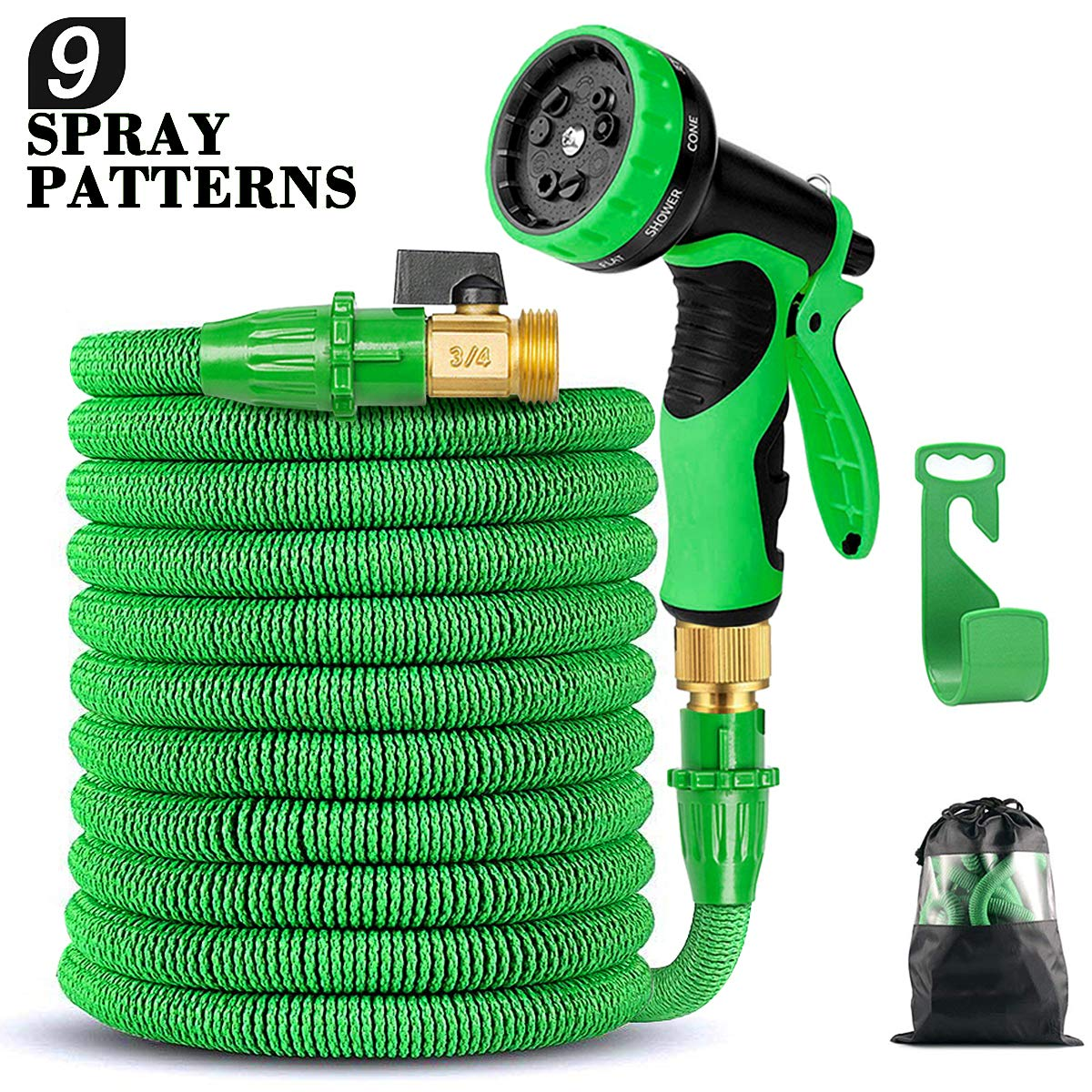 50FT Flexible Expandable Garden Hose with 9 Spray Patterns, Upgraded Retractable Water Hose with Triple Layer Latex Core&Fashion Brass Fitting & Extra Strong Fabric, Suitable for All Your Watering Needs product image