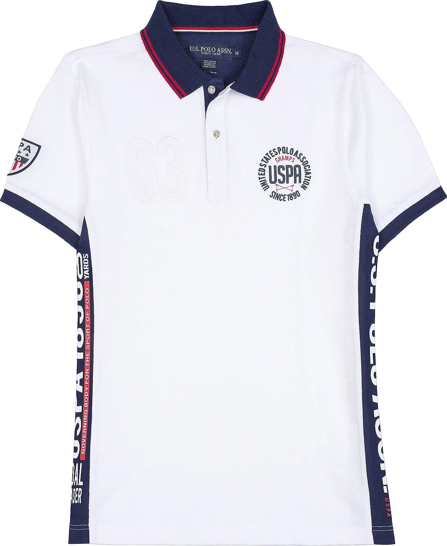 U.S. Polo Assn. Mens USA Color Block Patch Pique Polo Shirt