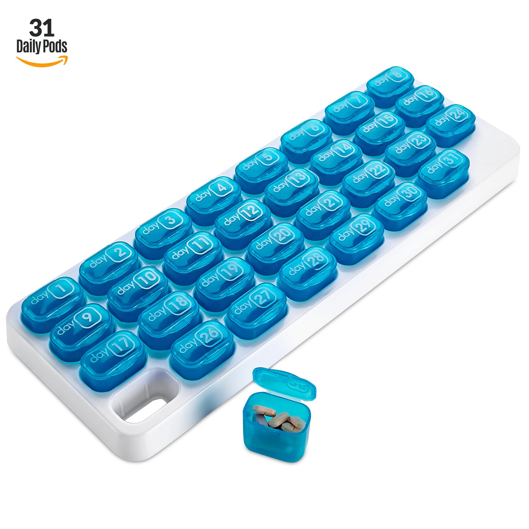 Monthly Pill Organizer - 31 Day Pill Organizer with Large Removable Medication Pods, Portable Pill Case Box and Holder for Daily Medicine and Vitamins, Great for Travel by MEDca by MEDca