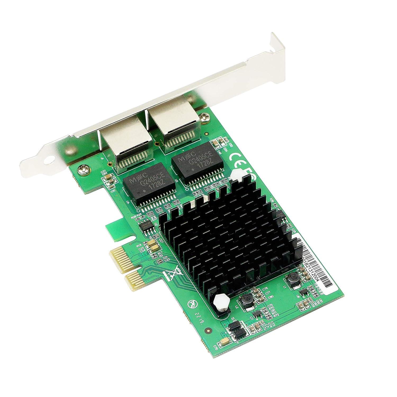 CERRXIAN Dual Port Gigabit Ethernet PCI Express PCI-E 1x Slot Network Adapter Card 10//100 1000 Mbps with Low Profile Bracket for Desktop PC LAN Internet Card