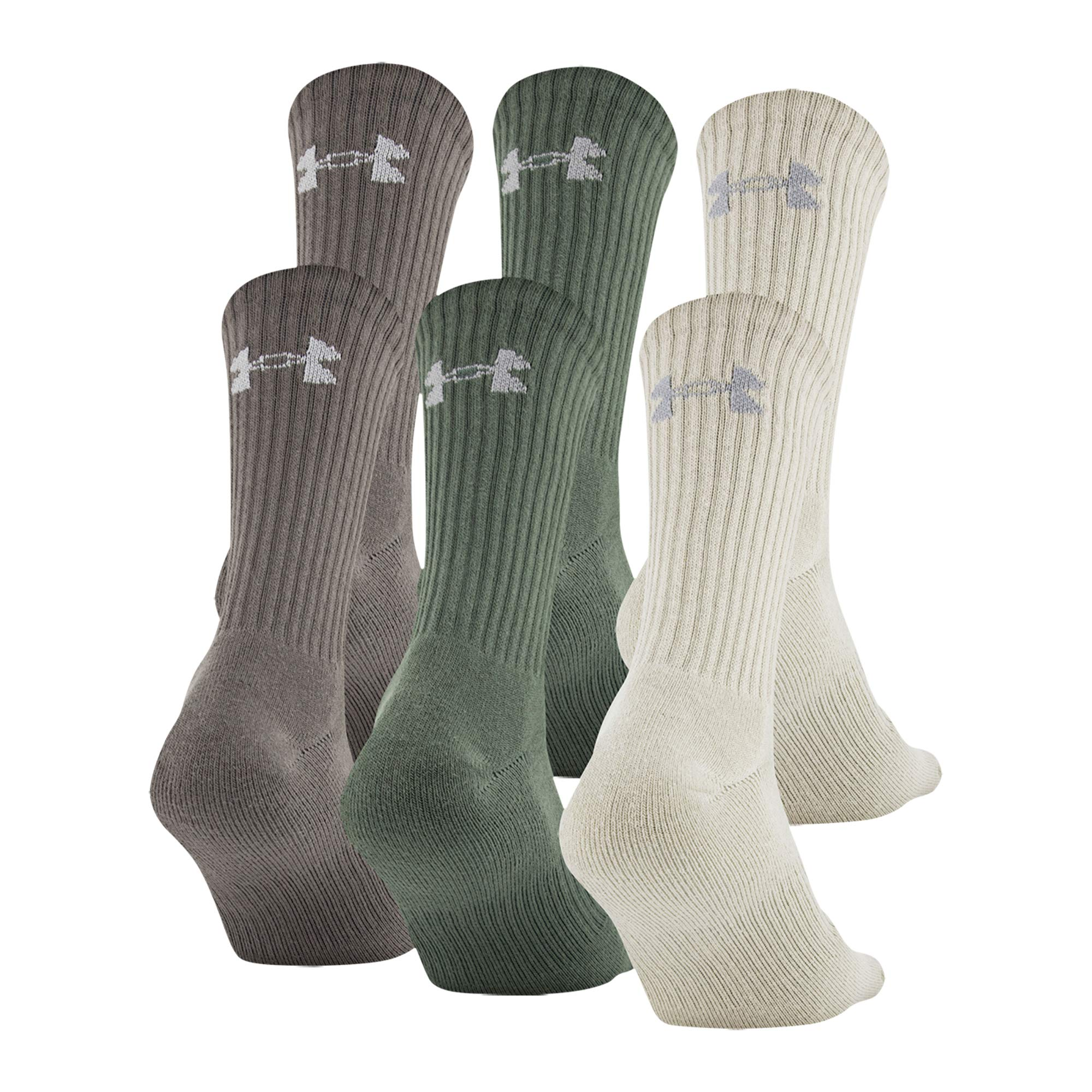Under Armour Men's Charged Cotton 2.0 Socks, 6-Pair, Neutral Assorted, Large by Under Armour