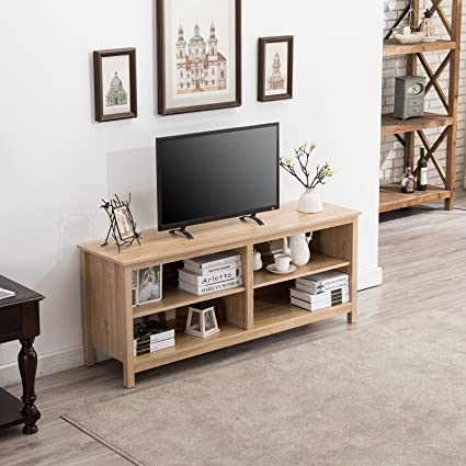 Amazon Com Clever Market Wood Tv Stand Durable Tv Cabinet Console