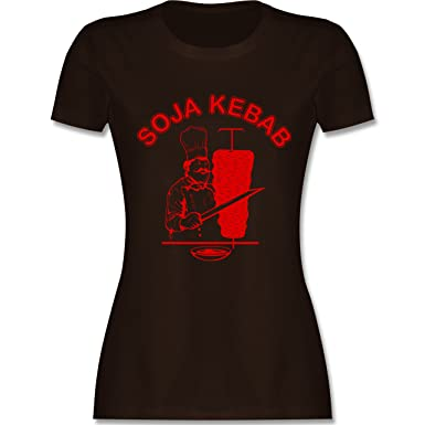 53c56fba48a920 Statement Shirts - Soja Kebab Logo Vegan Vegetarisch - Damen T-Shirt  Rundhals  Shirtracer  Amazon.de  Bekleidung