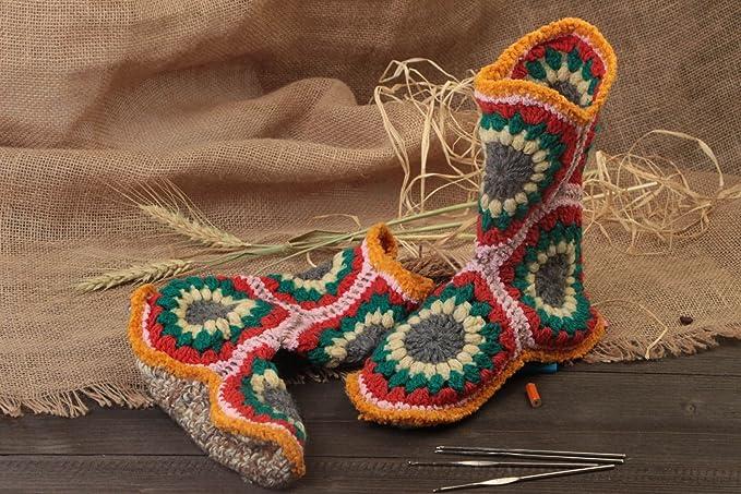 Botas Calcetines Tejidos A Ganchillo Hechos A Mano Pintorescos Originales: Amazon.es: Ropa y accesorios