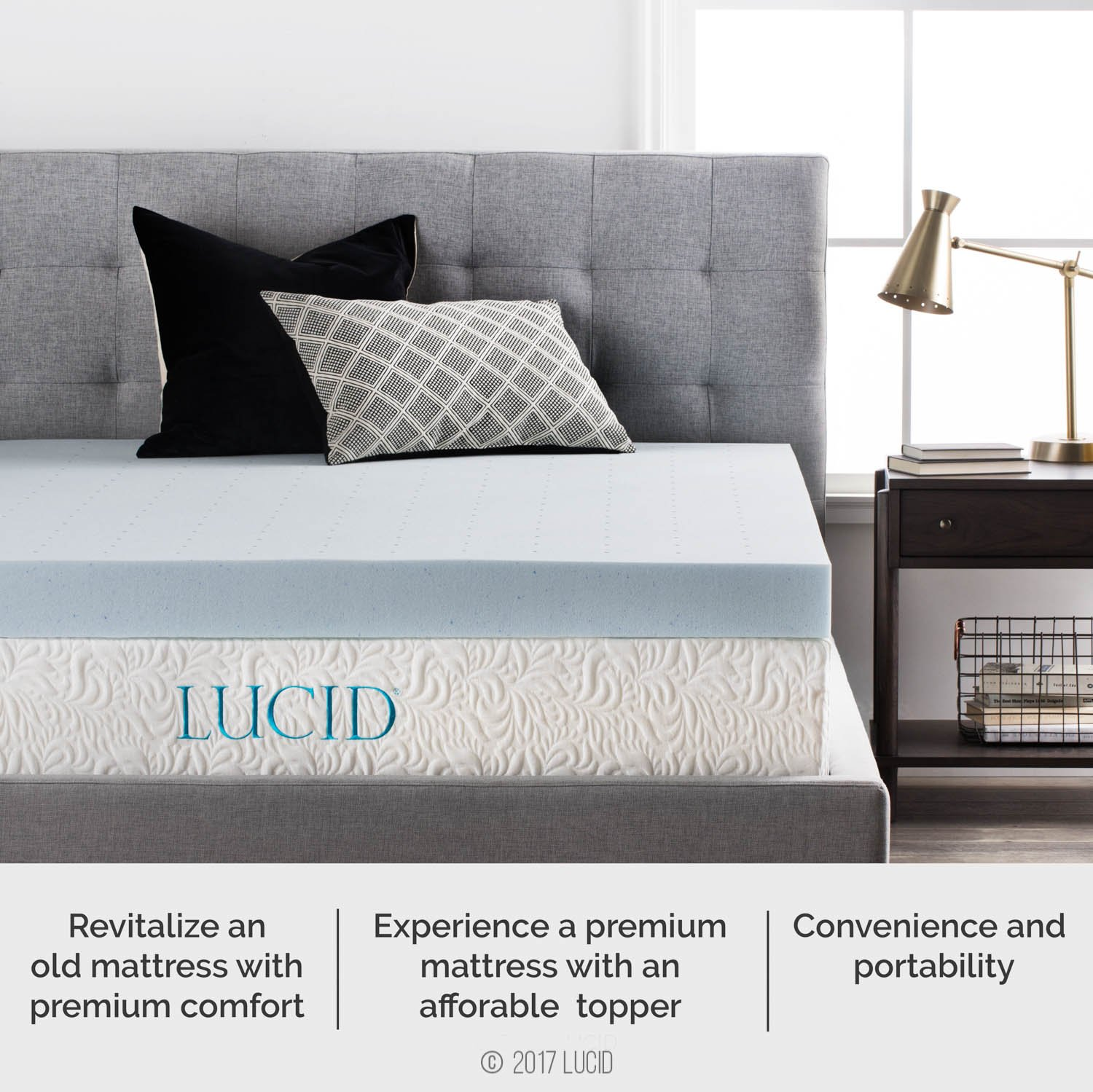 Lucid 4 Inch Gel Memory Foam Mattress Topper California King