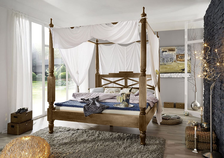 SAM® Palisander Massiv Holzbett Ford Himmelbett 160 x 200 cm natur Sheesham Vollholz Bett mit Vorhang in weiß Massivholz Bett zerlegt Auslieferung mit Spedition