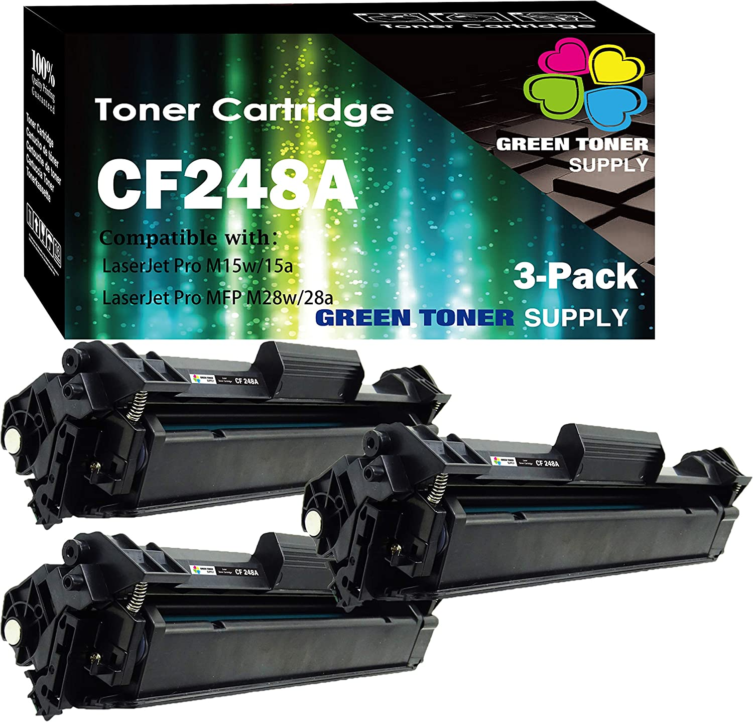 (3-Pack) Compatible 48A CF248A Toner Cartridge 248A Used for HP Laserjet Pro HP Laserjet Pro M15w M15a M16a M16w MFP M29w MFP M29a MFP M28w MFP M28a Printer, by GTS