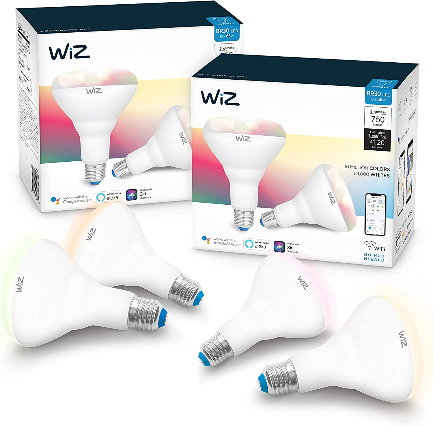 WiZ IZ20087584 65 Watt EQ BR30 Smart WiFi Connected LED Light Bulbs/Compatible with Alexa and Google Home, no Hub Required, RGB+ Color Changing/Tunable/Dimmable, 4