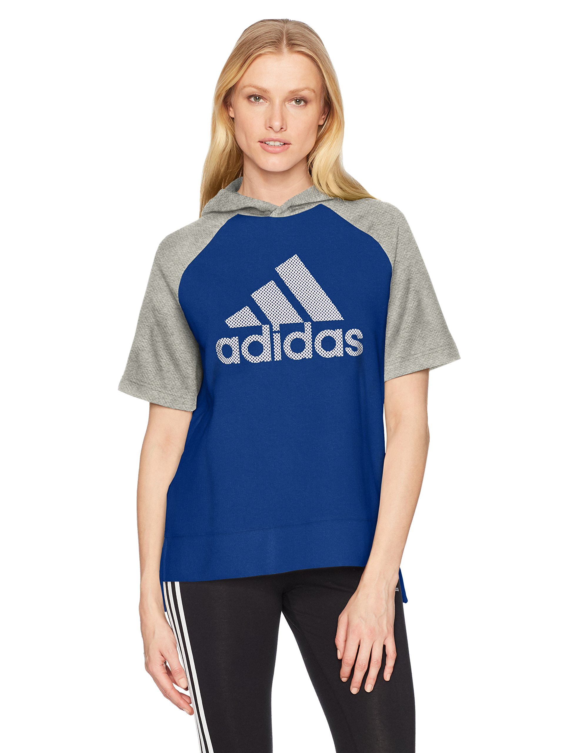 adidas Womens Athletics Fashion Full Zip Short sleeve Hoody, Mystery Ink/Medium Grey Heather/Noble Ink, Large