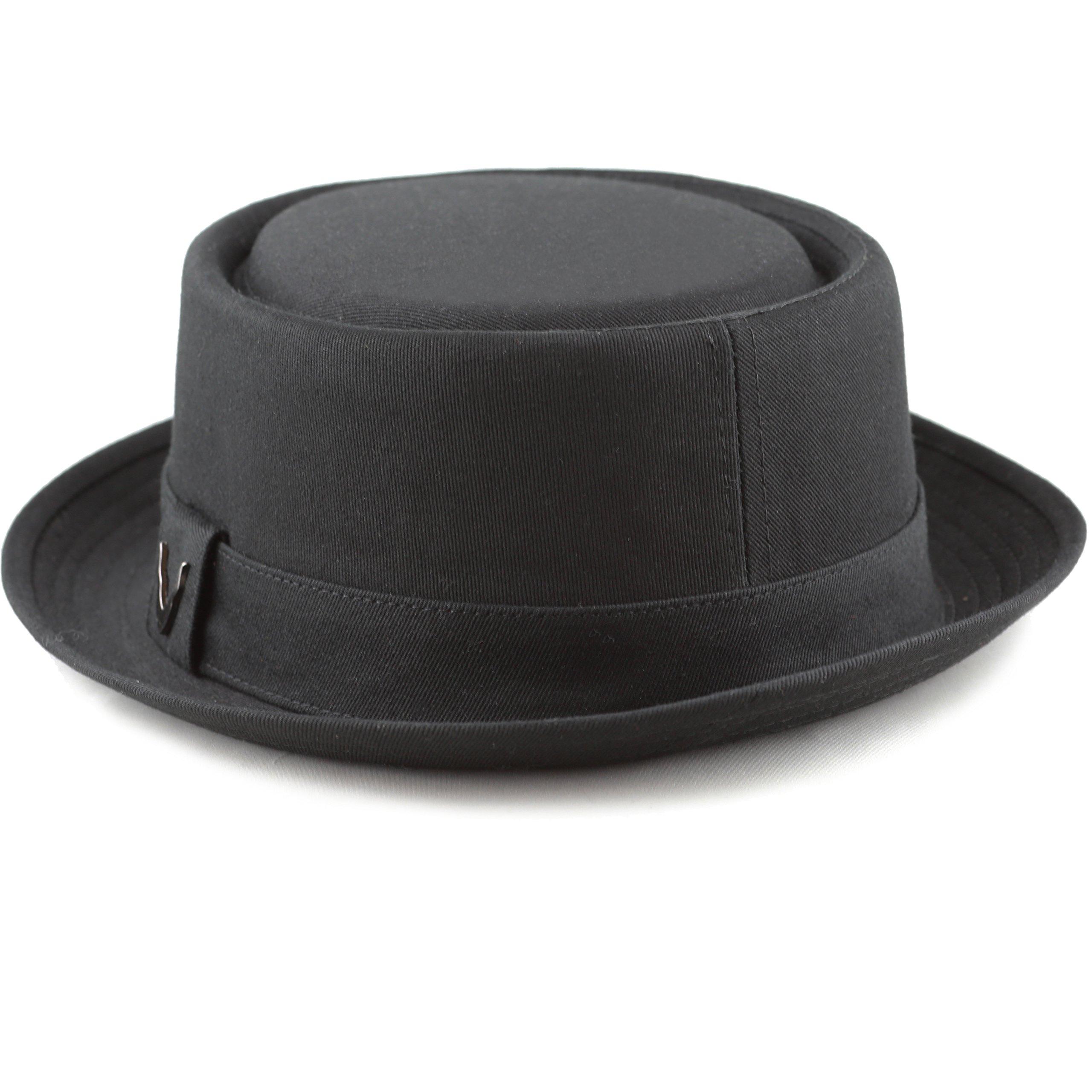9e0da007fd4c5 THE HAT DEPOT Black Horn Cotton Plain Porkpie Hat (Large
