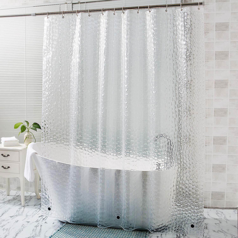 Otraki Extra Long Shower Curtain 72 X 96 Inch 3d Eva Semi Transparent Bath Curtains Weightd Bottom With Magnets 12 Hooks Heavy Duty Tall Bathroom