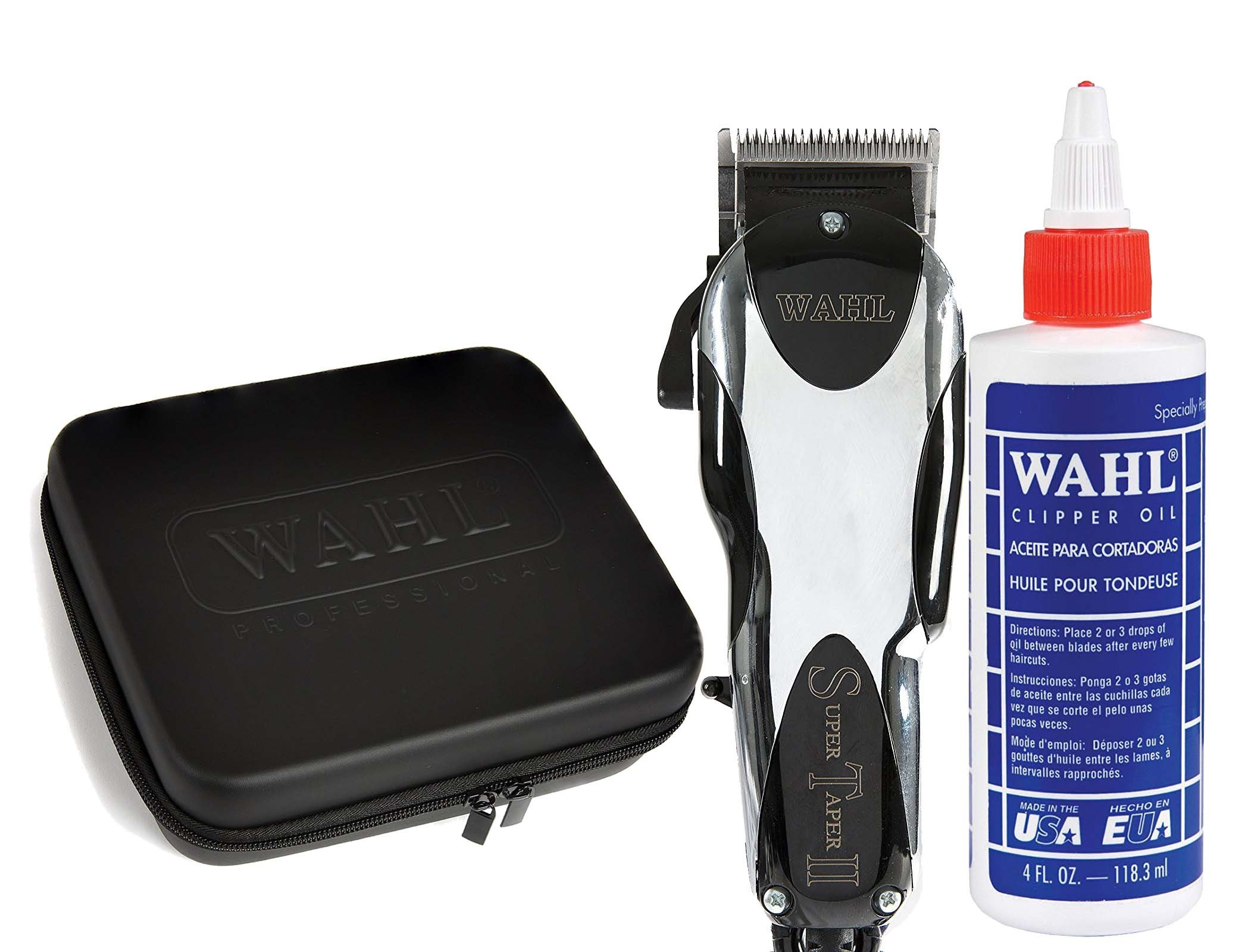 Wahl Professional Super Taper II #8470-500 with Travel Storage Case #90728 and 4oz Clipper Oil #03310 – Great for Barbers and Stylists