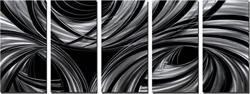 Yihui Arts Handmade Abstract Black and White Large Metal Wall Art Total Size 32x64IN